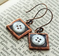 Copper button resin earrings. by DragonflyDreamers on Etsy, $22.00
