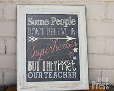 superhero+teacher+gifts | Teacher Printable - Superhero -Teacher - Chalkboard - Instant Download ...
