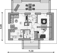 Rzut parteru projektu Tango II Small House Plans, Bungalows, Tango, Sweet Home, Floor Plans, House Design, How To Plan, Cooking, Home