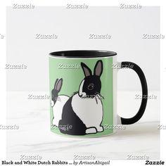 Black and White Dutch Rabbits Earthy Green Mug; ArtisanAbigail at Zazzle