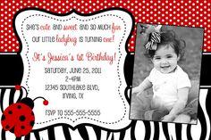 Ladybug Zebra Birthday Invitation