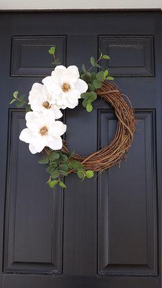 Magnolia Flower Wreath Spring Wreath Farmhouse Style