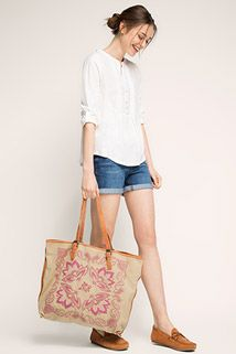 Esprit / Canvas shopper with leather handles