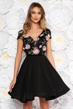 "StarShinerS black occasional cloche dress voile fabric with v-neckline embroidered with floral details with 3d effect, floral details, flaring cut, ""V"" cleavage, 3D effect, embroidery details, short sleeves, voile fabric"