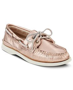 Sperry Top-Sider Women's Boat Shoes, Rose Gold - With their platinum metallic upper, Sperry Top-Sider's beloved boat shoes get a glamorous fashion makeover! Their traditional design elements and enduring quality yield both classic charm and timeless appeal. - Macy's, (on Sale, orig. $90) $47.25