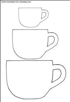 Free Printable Tea Cup Template Bing Printable Coffee Mug Template Free Applique Patterns, Felt Crafts Patterns, Sewing Appliques, Applique Designs, Quilting Designs, Sewing Patterns, Felt Templates, Applique Templates, Templates Printable Free