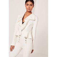 Missguided Ruffle Front Button Jacket (€44) ❤ liked on Polyvore featuring outerwear, jackets, cream, white jacket, cream jacket, ruffle jacket, white ruffle jacket and shiny jacket