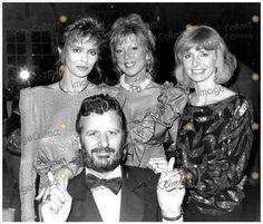 """janeasherdaily: """"Barbara Bach, Ringo Starr, Pattie Boyd and Jane Asher during a Fashion Show at the Savoy Hotel in London, 1986. Happy Birthday to Pattie Boyd! """""""
