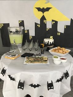 Batman birthday party, black and white