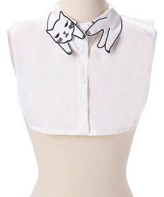 Look at this #zulilyfind! White Embroidered Cat Layering Collar #zulilyfinds