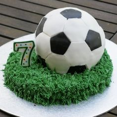 Make a soccer cake for a soccer birthday party or a World Cup party!
