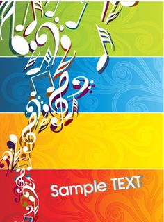 Set of Musical backgrounds vector graphic 02