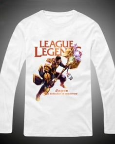 League of Legends Jayce White t shirt long sleeve for men plus size -