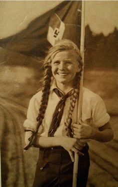Mid 1930's German girl of the Jungmädel, a girl-scout type athletic league, participation in which was as compulsory as going to school.