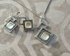 Pearl color glass jewelry set. Necklace and earring set. Rombus Earring with shiny and sparkle pearl color glass. Rombus neklace. Giftforher - Edit Listing - Etsy