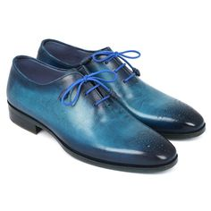 Paul Parkman Men's Blue & Navy Medallion Toe Oxfords (ID#VN82BL) #mensdressshoes #dressshoes #shoes #mensfashion #socks #laces #handmade #bestshoes #luxuryshoes #businessshoes #formalshoes #exoticshoes #leathershoes #luxury #luxurylifestyle