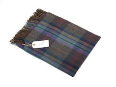Campbell's of Beauly - Lambswool Serape Marine Plaid Cashmere Scarf, Women Accessories, Cover Up, Women Wear, Plaid, Cosy, Travelling, Pattern, Blue