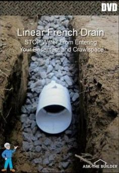 A trench drain will help move water away from your house and yard. This trench drainage system, also known as a French drain, intercepts water before it reaches your house. The drain acts like an underground gutter, keeping your basement dry. Backyard Drainage, Landscape Drainage, Backyard Landscaping, Gutter Drainage, Landscaping Ideas, Patio Drainage Ideas, Drain Français, Drain Pipes, Trench Drain