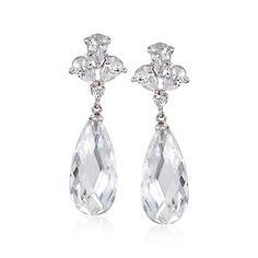 17.10 ct. t.w. CZ Drop Earrings in Sterling Silver