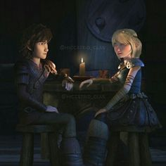 Hiccup and Astrid having a romantic dinner date from Dreamworks Dragons Race to the Edge.