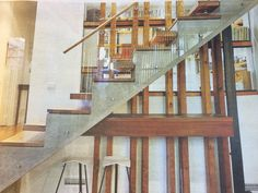 The concrete stair spine is great for energy efficiency via its thermal mass qualities. And looks amazing!