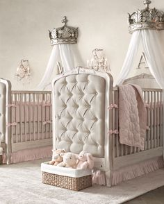 upholstered cribs lend softness and warmth to a shared nursery. #rhbabyandchild