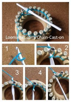 Saving because I keep forgetting how to do this. Chain Cast On. Best ways to cast-on round knitting looms for a clean, less loopy, less loom knit look to your project. Picture, Text and Video Tutorial.