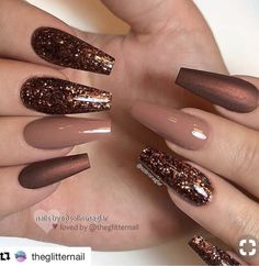 30 Thanksgiving Nail Art Ideas to Set Major Mani Goals - Thanksgiving Nails - Bronze Nails, Coffin Nails Matte, Gel Nails, Matte Gel, Polish Nails, Dark Nude Nails, Dark Color Nails, Coffin Nails Glitter, Glitter Nail Polish