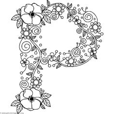 Download Free Floral Alphabet Letter P Coloring Pages Coloringbook Coloringpages