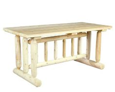 Cedarlooks 020021C Log Harvest Family Dining Table by Cedarlooks. $439.99. Can be painted, stained or left to wether to a natural silver grey.. Log harvest family dining table. Solid cedar construction ensures years of maintenance free use.. Our rugged log-style Harvest table seats six comfortably. The strong, straight lines of the cedar spindles are a subtle nod to the Mission style of furniture popularized in the 1900s. Sanded to an ultra smooth finish and virtually mainten...