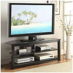 """57"""" Black Glass TV Stand at Big Lots. I Want This In My Room. #BigLots"""
