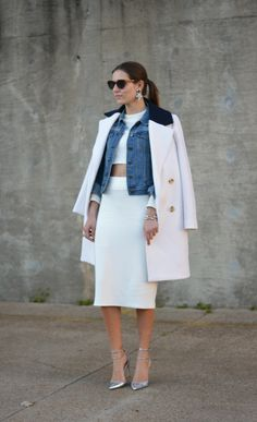 A lot of white, a little denim, and a little belly. Love this look.