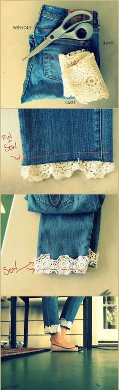 Lace Jeans!!!! I think I'll make a lace bottomed skirt like this out of my old jeans :) or with cotton eyelet