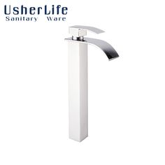 Usherlife Brass Bathroom Basin Single Handle Faucet 31cm High Tap Waterfall Vessel Sink Mixer Tap Hot&Cold Water Faucets