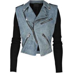Alexander Wang - Suede and rib-knit biker jacket Blue Suede Jacket, Studded Jacket, Suede Moto Jacket, Knit Jacket, Sweater Jacket, Grunge Style, Blue Motorcycle, Motorcycle Jackets, Weekly Outfits