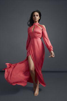 84b6eb4eb1773 Alesha Dixon Choker Neck Cut Out Detail Maxi Dress in Fuchsia