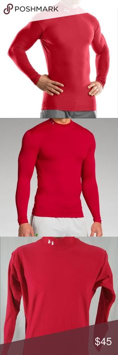 Red Under Armour long sleeve XL compression shirt PRODUCT DNA  Fitted: Next-to-skin without the squeeze.  Dual-layer fabric provides a durable, smooth, fast-drying exterior  Soft, brushed interior traps warmth without adding bulk  4-Way Stretch fabrication allows greater mobility and maintains shape  Signature Moisture Transport System wicks sweat away from the body  Anti-Odor technology prevents the growth of odor causing microbes  Flatlock seams prevent chafing  7.0 oz. Polyester/Elastane…