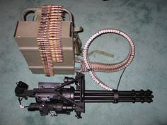 Minigun - a 7.62 mm, multi-barrel heavy machine gun with the high rate of fire (2000 to 6000 rounds per minute).