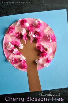 Handprint Cherry Blossom Tree Kids Craft. Great spring craft for kids. from iheartcraftythings.com