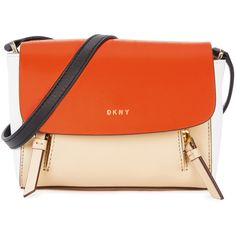 DKNY Greenwich mini leather shoulder bag (¥26,510) ❤ liked on Polyvore featuring bags, handbags, shoulder bags, genuine leather handbags, orange purse, leather shoulder bag, dkny handbags and mini purse