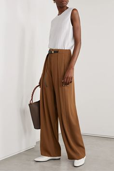 Light brown Brona belted wool wide-leg pants | The Row | NET-A-PORTER Matthew Williamson, Brown Pants Outfit, The Row, Alexander Mcqueen, Christian Louboutin, Black Combat Boots, Summer Pants, Black Leather Belt, Wide Leg Pants