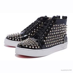 Christian Louboutin Black Patent Leather High Upper Mens Sneakers