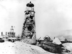 The Mobile Point lighthouse was located near Fort Morgan at the entrance to Mobile Bay. It was heavily damaged, as shown here, by Union naval gunners during the Civil War in the Battle of Mobile Bay in August 1864.