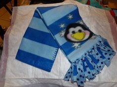 Cute blue Fleece scarf with a happy Penguin by KelleysKreationsLV