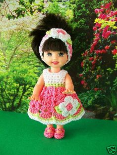Kelly or Puki Doll Clothes Pink Flower Dress Headband shoes panties