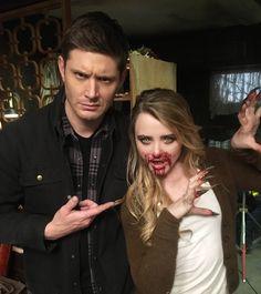 Jensen and Kathryn (aka Claire Novak) on Supernatural set