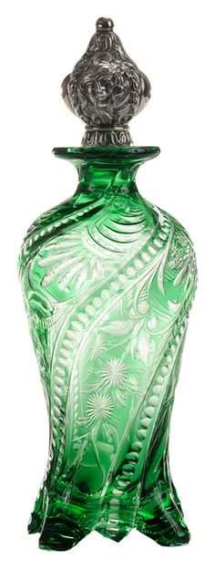 Perfume Bottle; Stevens & Williams, Cut & Engraved, Flowers & Geometric, Emerald Over Colorless, Medusa & Serpents Silver Stopper, 10 Inch.