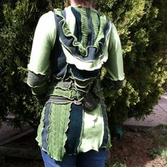Green Upcycled Sweater TUNIC Greens Hooded OOAK by FunAndFunky13, $125.00