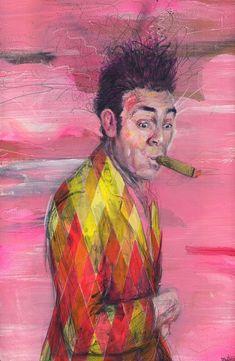 "Kramer Seinfeld Art Print - Wall Art Poster Print - Seinfeld Art - Kramer Portrait - Wall Decor - ""Kramer"" by Black Ink Art Seinfeld, Black Ink Art, Cigar Art, Portrait Wall, Pink Art, Canvas Art Prints, Original Paintings, Poster Prints, Smoking"