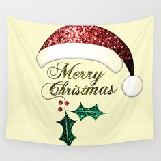 Merry Christmas Santa hat with red, gold and green sparkles Wall Tapestry by #PLdesign #ChristmasSparkles #SparklesGift